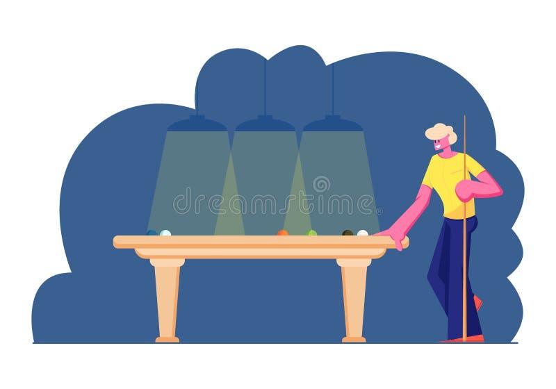 男性角色藏品暗示立场在与等待轮命中的球的台球台上,认为比赛演奏在俱乐部的战略人落袋撞球 皇族释放例证