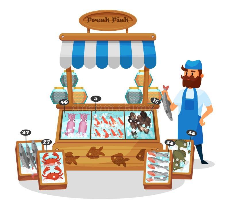 男性角色,在鱼柜台后的卖主,用在冰的海鲜 向量例证