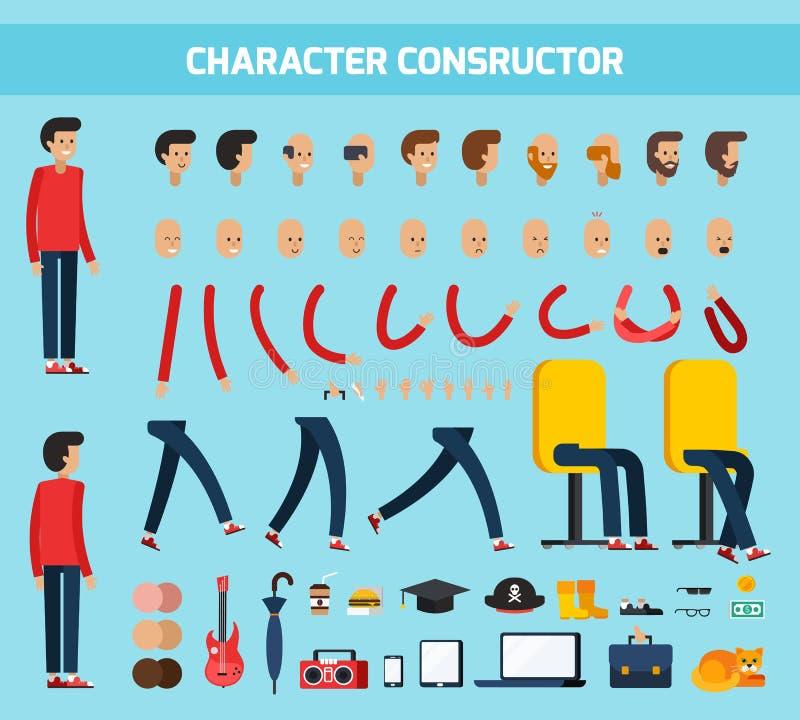 男性角色建设者平的构成 库存例证