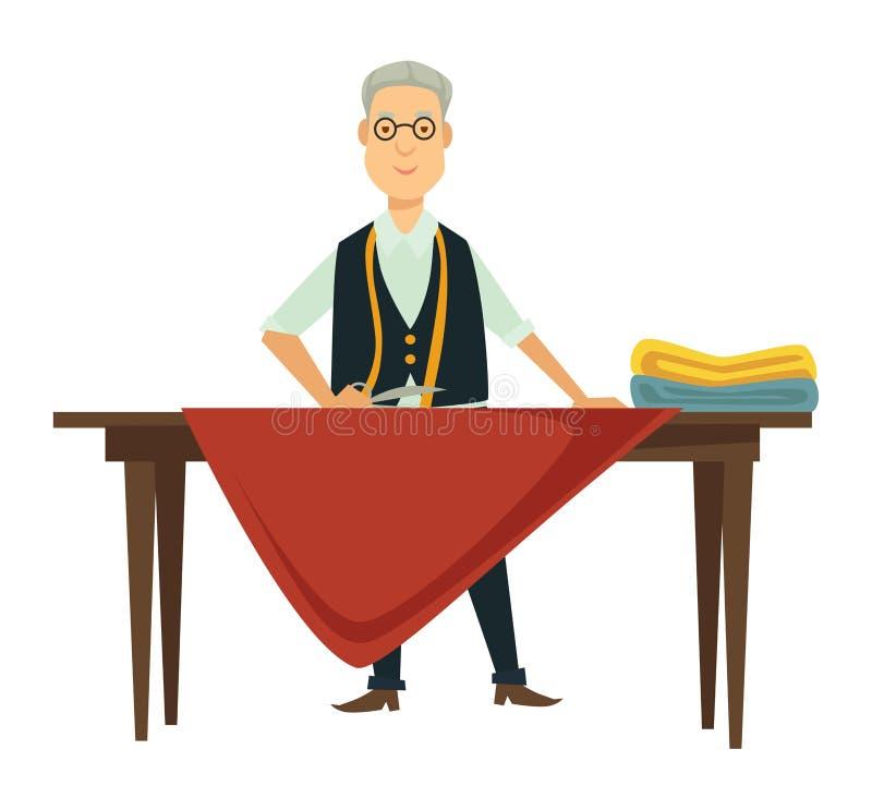 男性设计师在新的成套装备工作在桌上 皇族释放例证