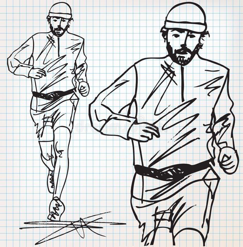男性赛跑者剪影例证 库存例证