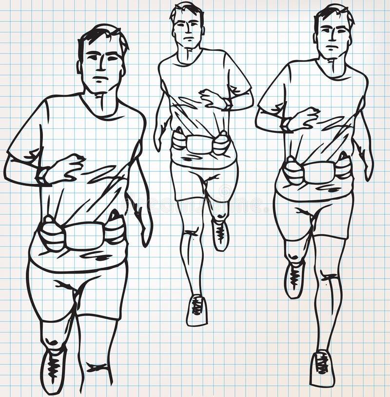 男性赛跑者剪影例证 向量例证
