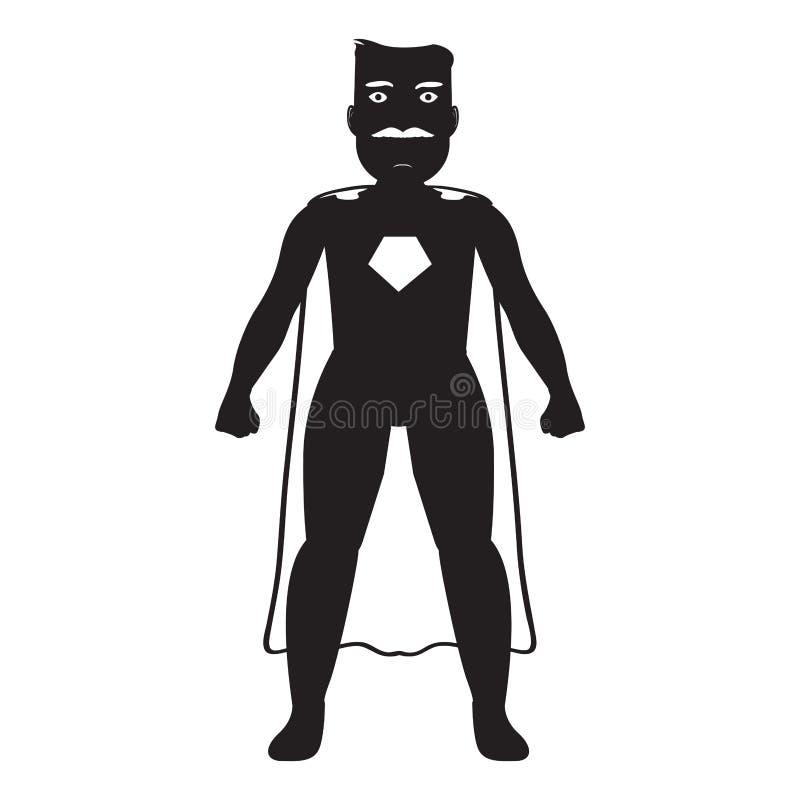 男性超级英雄漫画人物剪影 库存例证