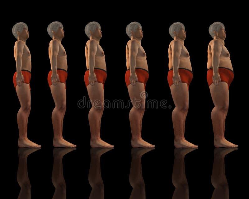 男性超重减肥 皇族释放例证