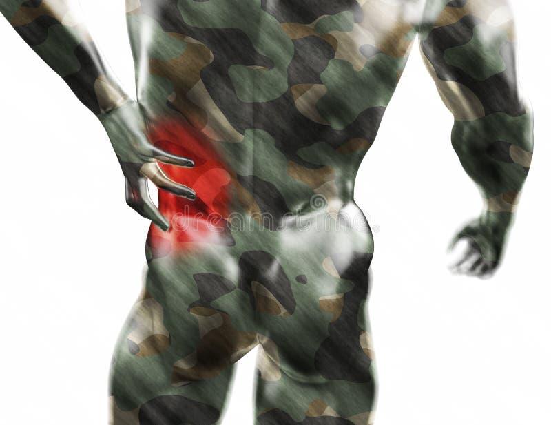 男性躯干,在后面的痛苦在白色背景 3d回报了医疗例证 库存例证