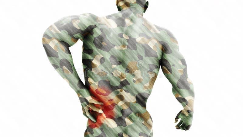 男性躯干,在白色背景隔绝的后面的痛苦 3d回报了医疗例证 库存例证