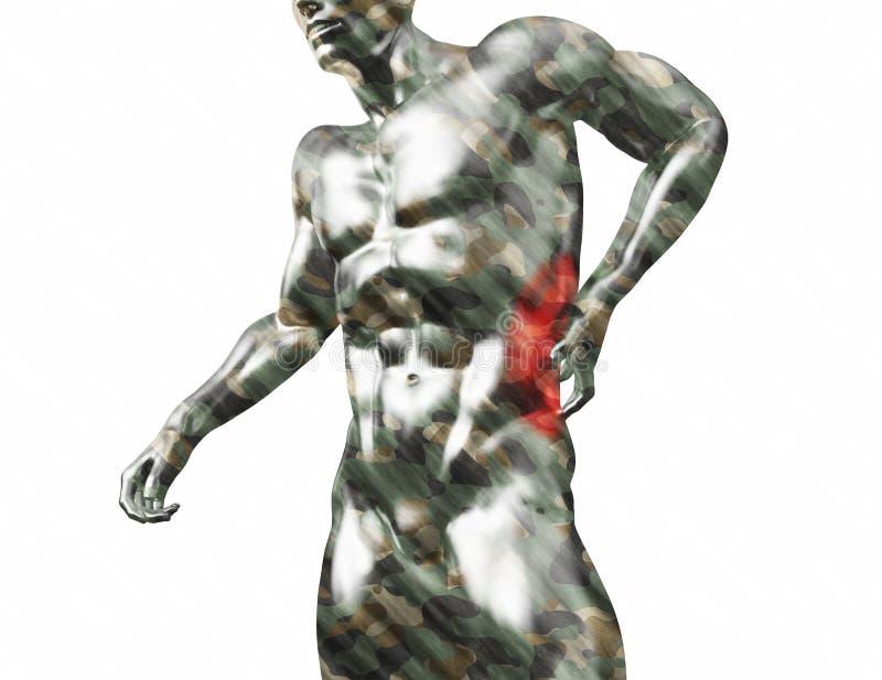 男性躯干,在白色背景隔绝的后面的痛苦 3d回报了医疗例证 向量例证