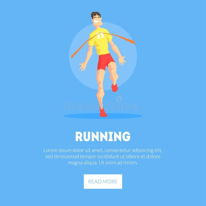 男性运动员横穿终点线横幅模板,设计元素可以为登陆页使用,流动应用程序,网站 库存例证