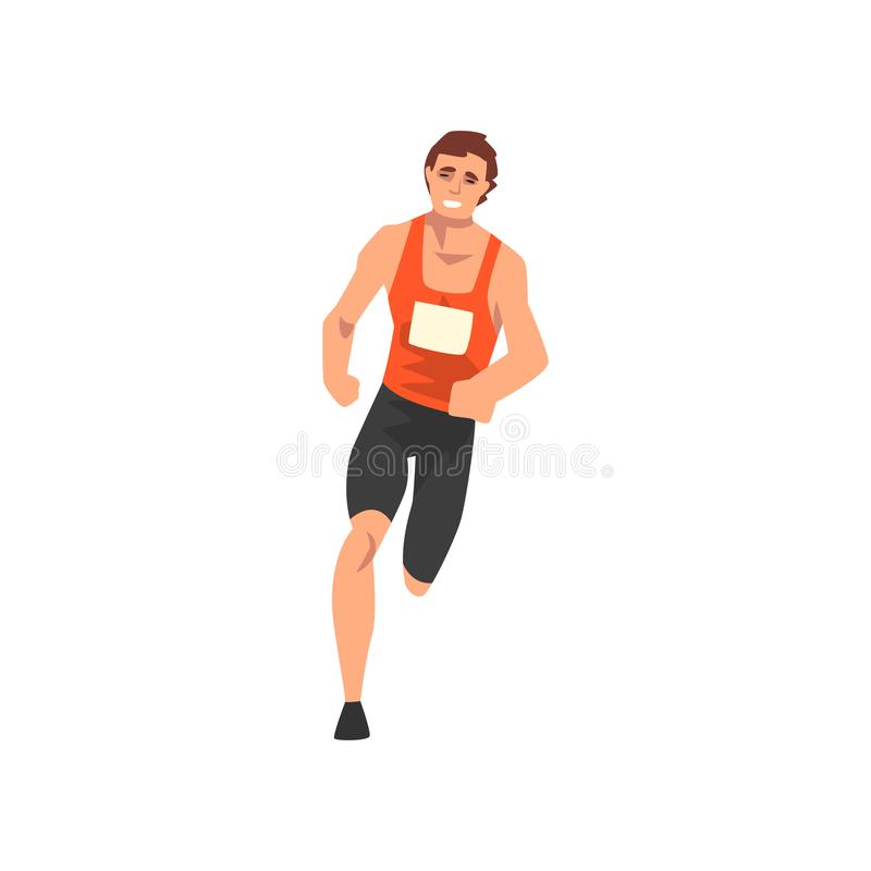 男性运动员连续轨道,在一致,正面图,活跃体育健康生活方式传染媒介的运动员字符 库存例证