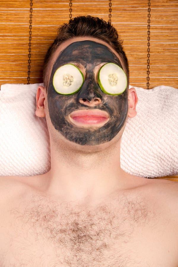 男性面部面具skincare 图库摄影