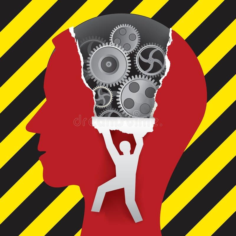 男性顶头建设中,心理学概念 向量例证