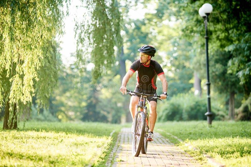 男性骑自行车者训练在绿色公园 库存图片