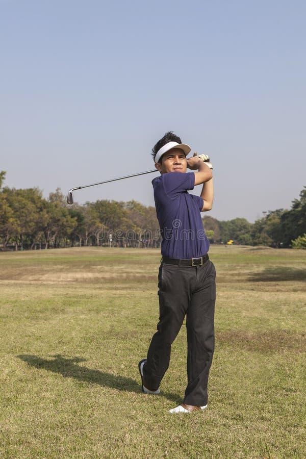 男性高尔夫球运动员摇摆的高尔夫球 库存图片