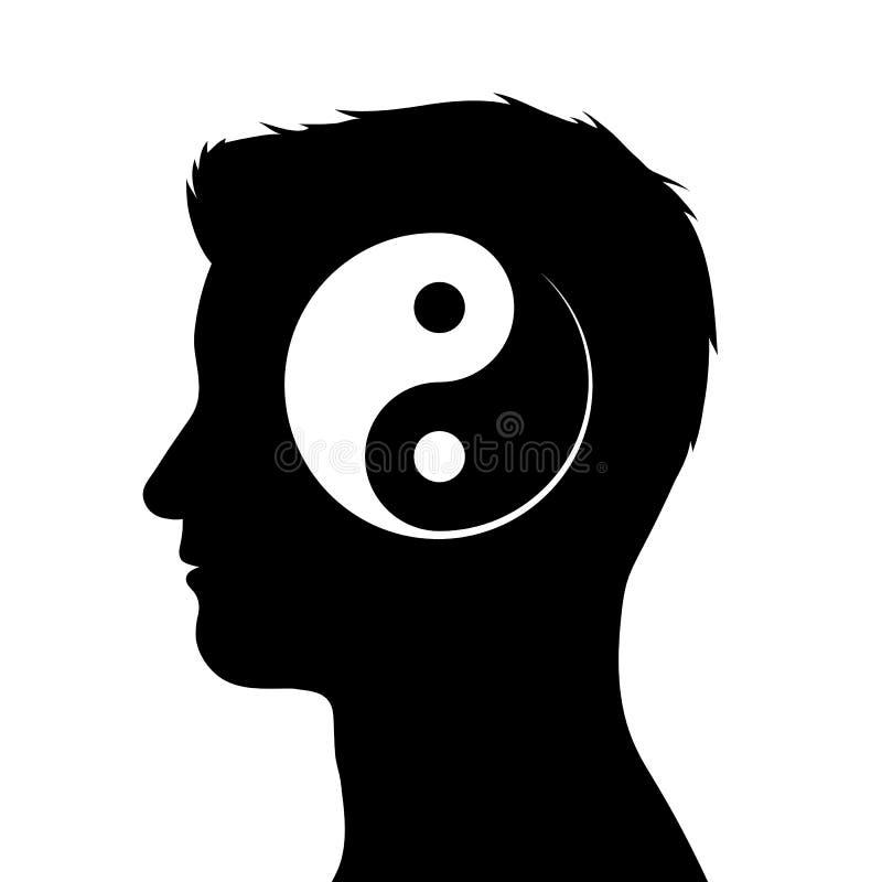 男性头剪影有yin杨标志的 皇族释放例证