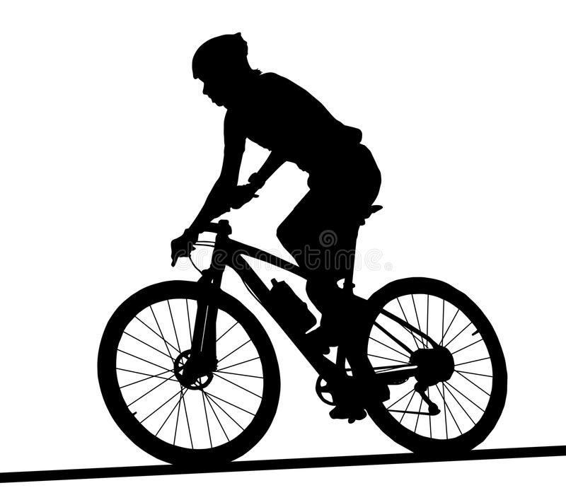 男性登山车竟赛者旁边外形剪影  向量例证