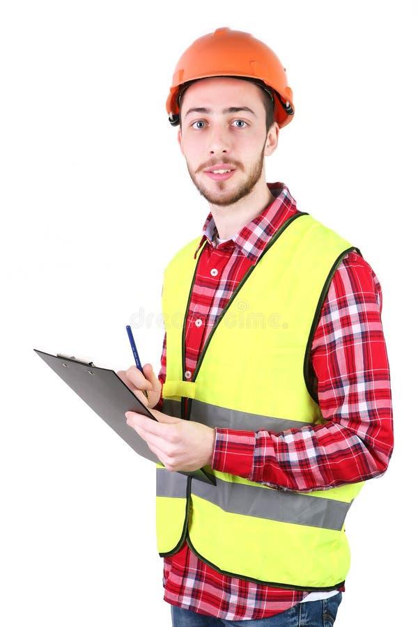 男性建筑工人 熟练工工程师 背景查出的白色 免版税库存照片