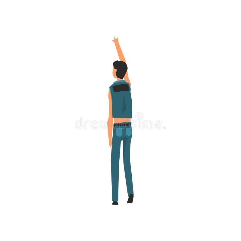 男性Clubber常设与举手在露天音乐会,岩石费斯特,室外夏天音乐节,从的看法 向量例证