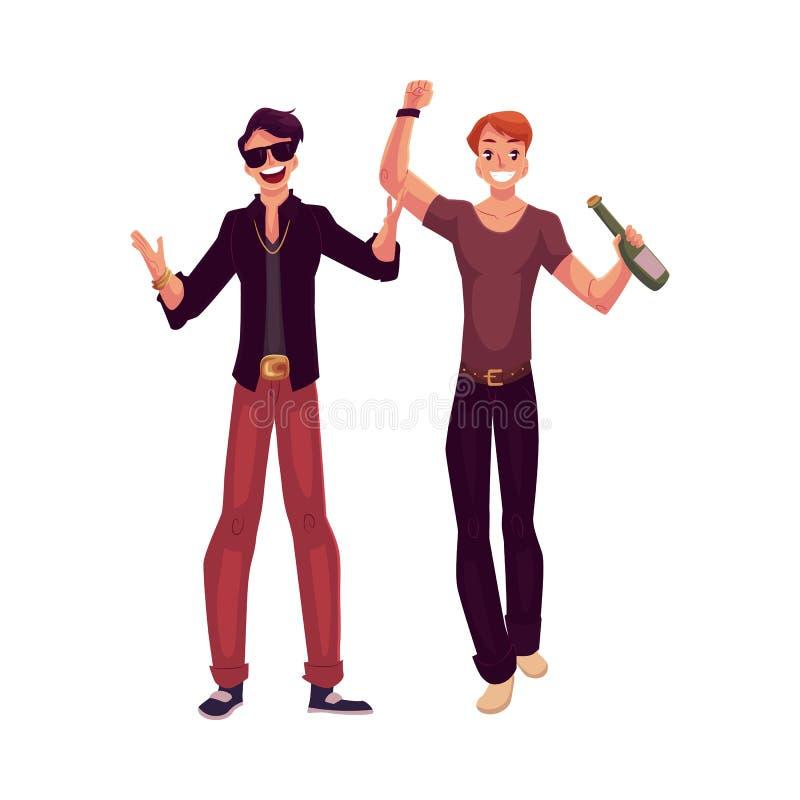 年轻男性clubbers获得乐趣在夜总会,派对狂 皇族释放例证