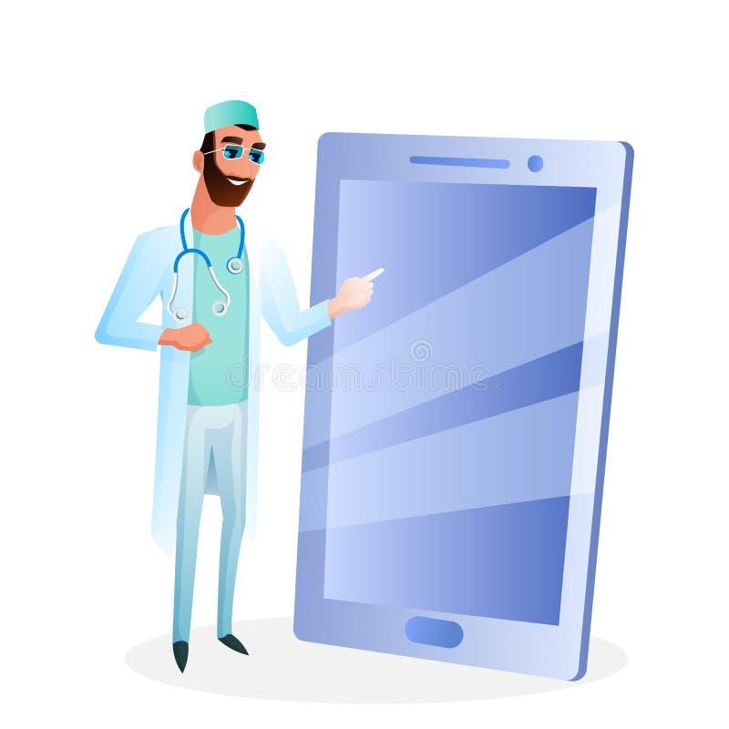 男性In Glasses Touch Big医生智能手机屏幕 皇族释放例证