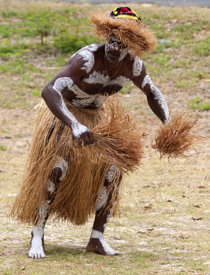 男性Kanak舞蹈家 免版税库存照片