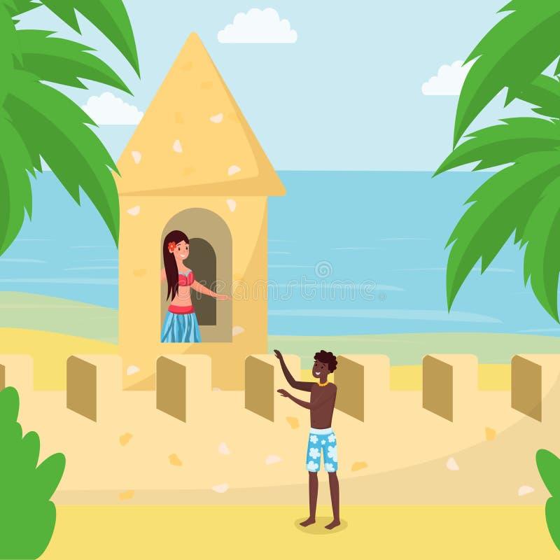 男朋友从沙子城堡的挽救女朋友 巨大的沙子雕塑,在热带手段动画片海洋的城堡海岸  皇族释放例证