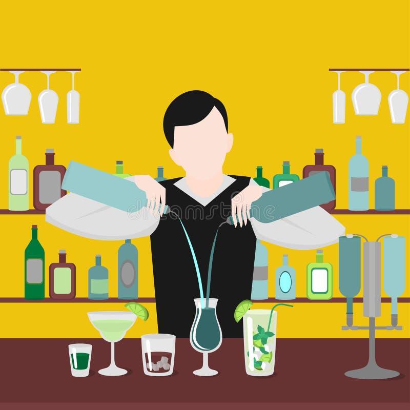 男服务员展示 在酒吧的夜生活 人混合饮料 酒精鸡尾酒和瓶象集合 向量例证
