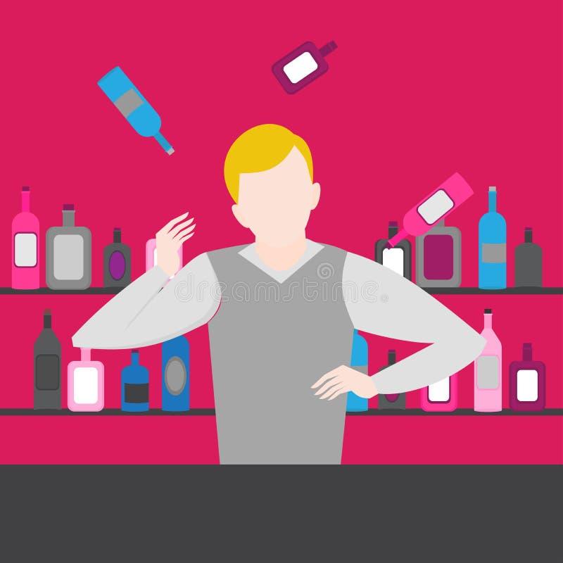 男服务员展示 在酒吧的夜生活 变戏法者人玩杂耍 酒精鸡尾酒和瓶象集合 皇族释放例证
