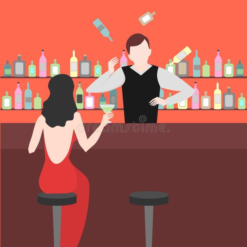 男服务员展示 在酒吧的夜生活 变戏法者人玩杂耍 酒精鸡尾酒和瓶象集合 向量例证