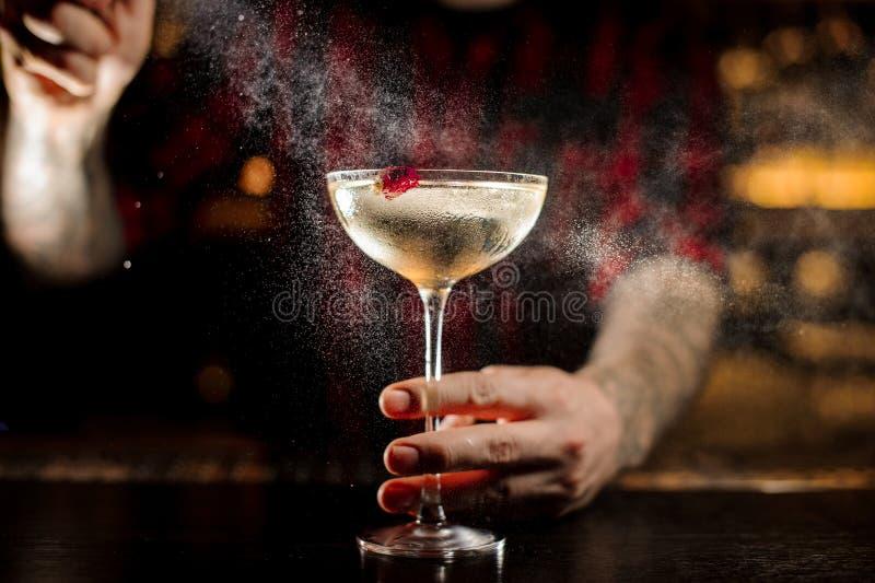 男服务员洒苦涩在典雅的鸡尾酒杯 免版税图库摄影