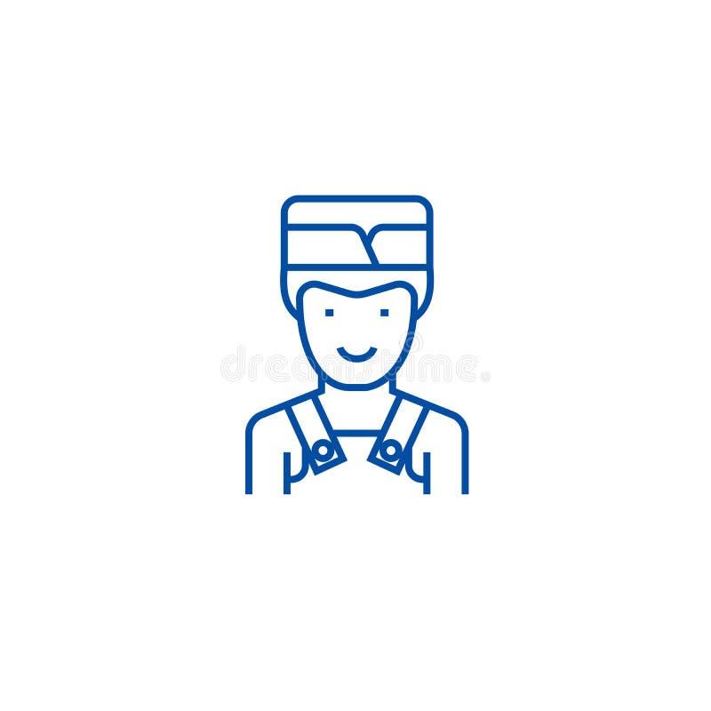 男服务员线象概念 男服务员平的传染媒介标志,标志,概述例证 库存例证