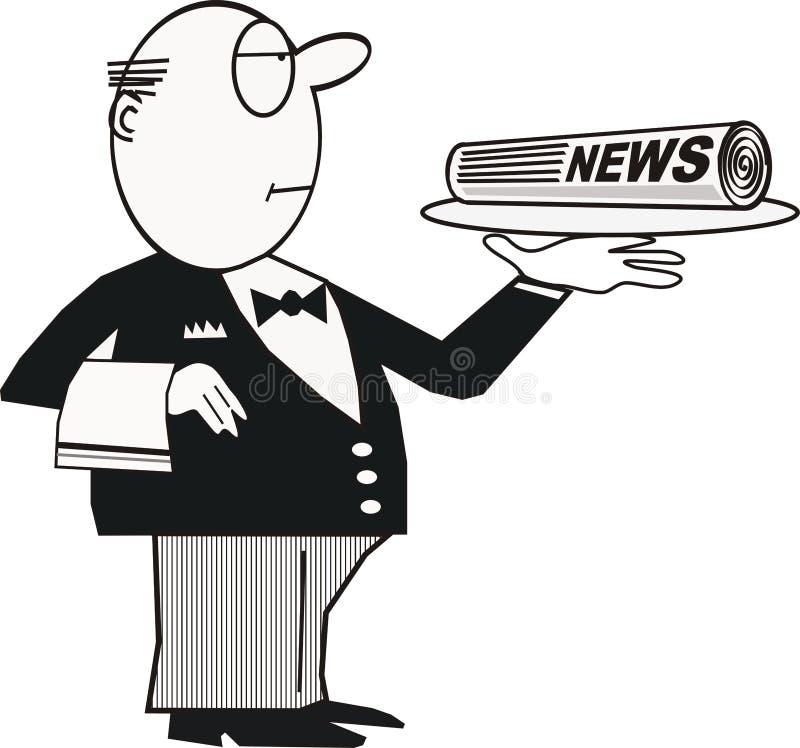 男管家动画片报纸 向量例证
