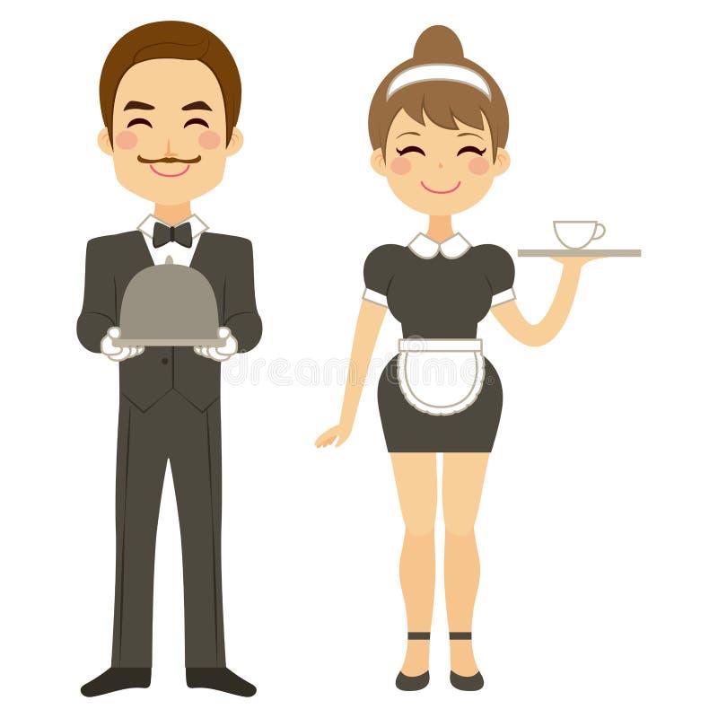 男管家和佣人服务 向量例证