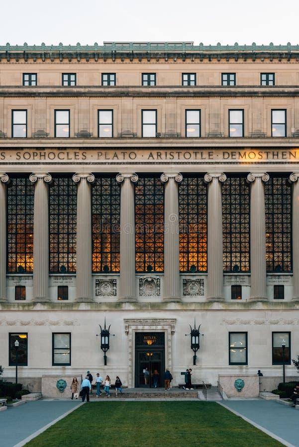 男管家图书馆,哥伦比亚大学的,在晨边高地,曼哈顿,纽约 免版税库存照片