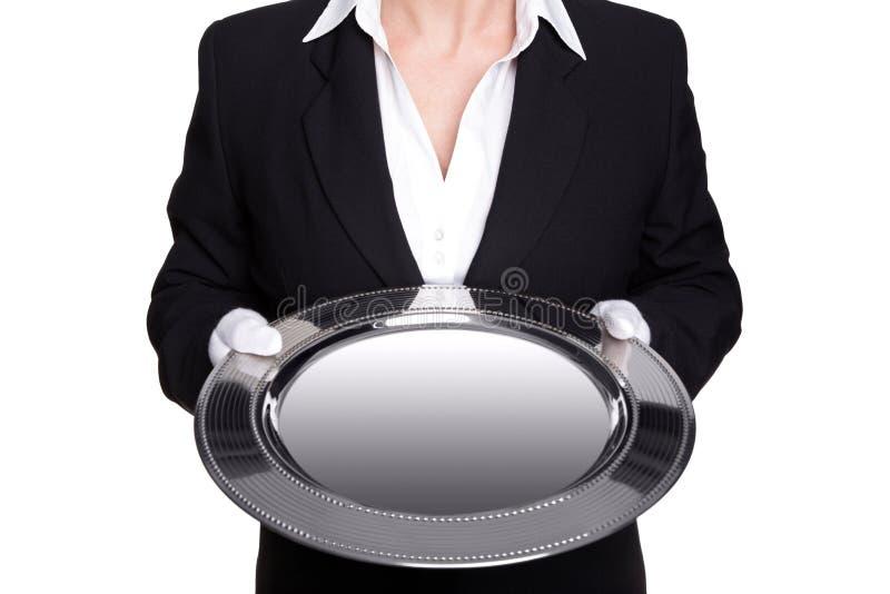 男管家女性藏品查出的银色盘 库存照片