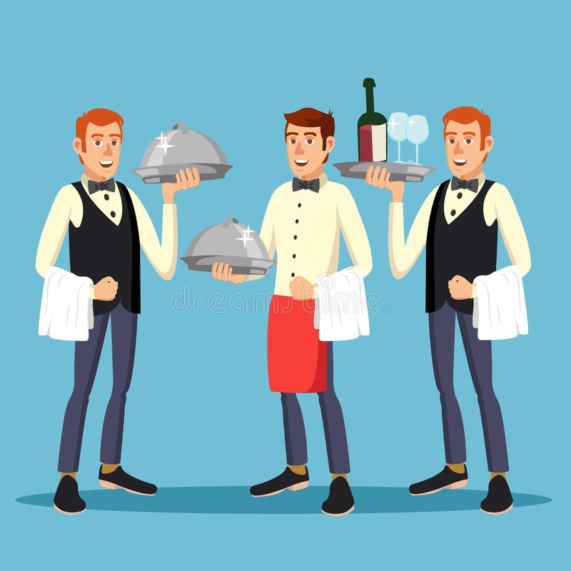 男管家工作者传染媒介 人制服的男管家人有盘的 在餐馆的晚餐 例证 皇族释放例证