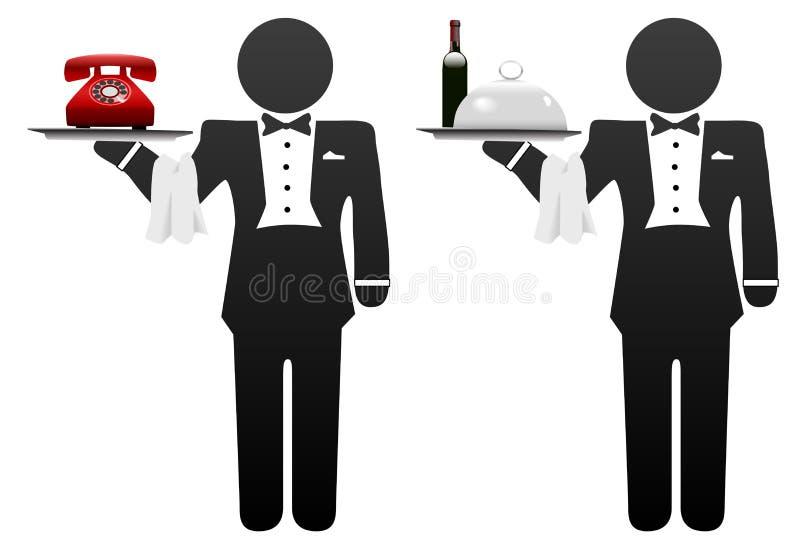 男管家食物电话空间仆人服务盘 向量例证