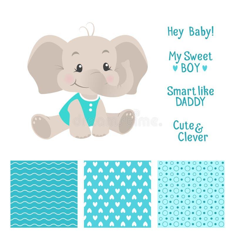 男婴与无缝的样式的大象设计 库存例证