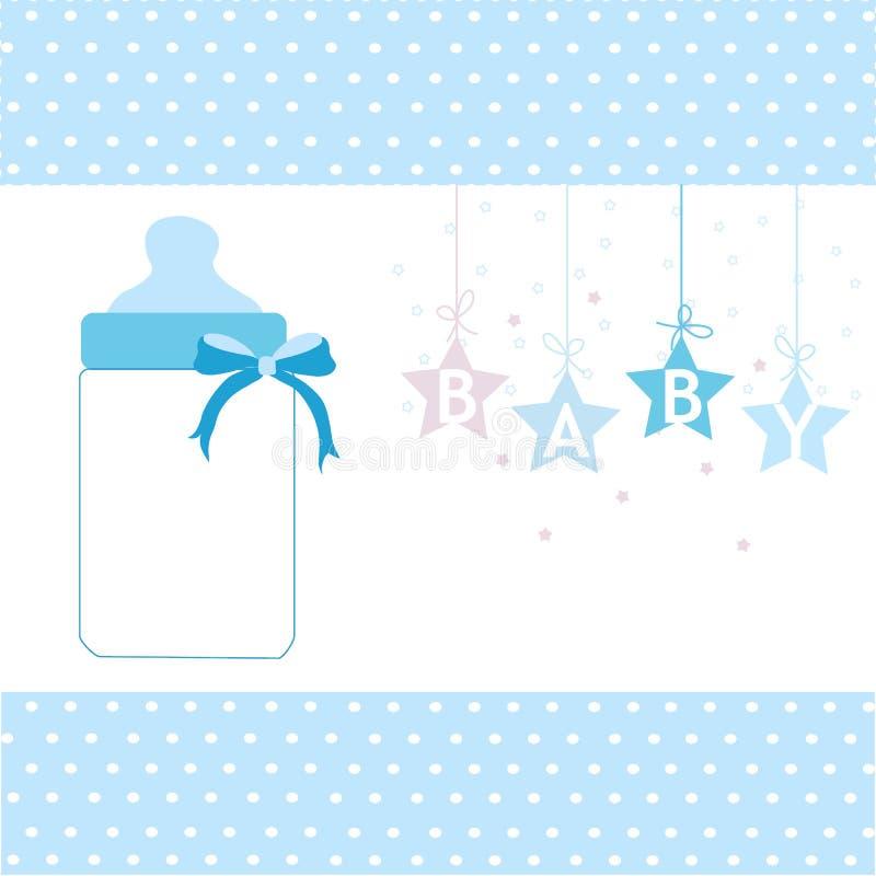 男婴贺卡垂悬的星和瓶背景 向量例证