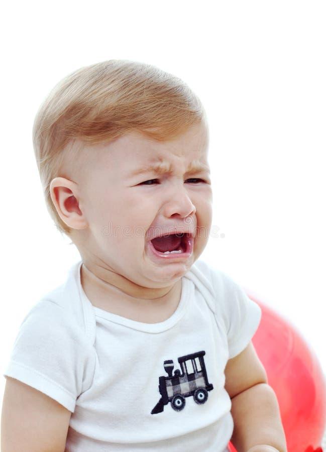 男婴哭泣 免版税库存图片