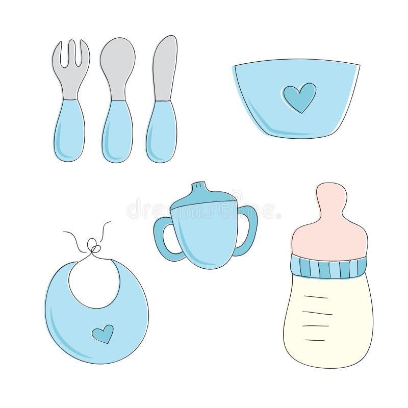 男婴哺养的集合 向量例证