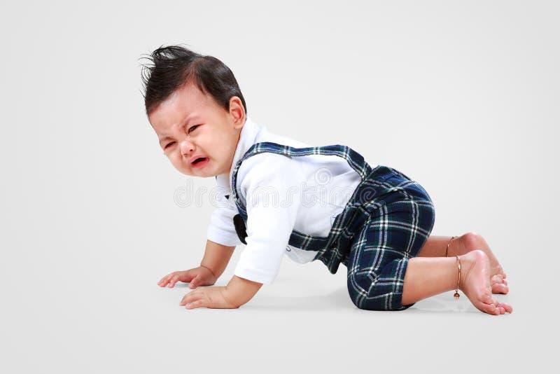 男婴放下对哭泣 库存图片