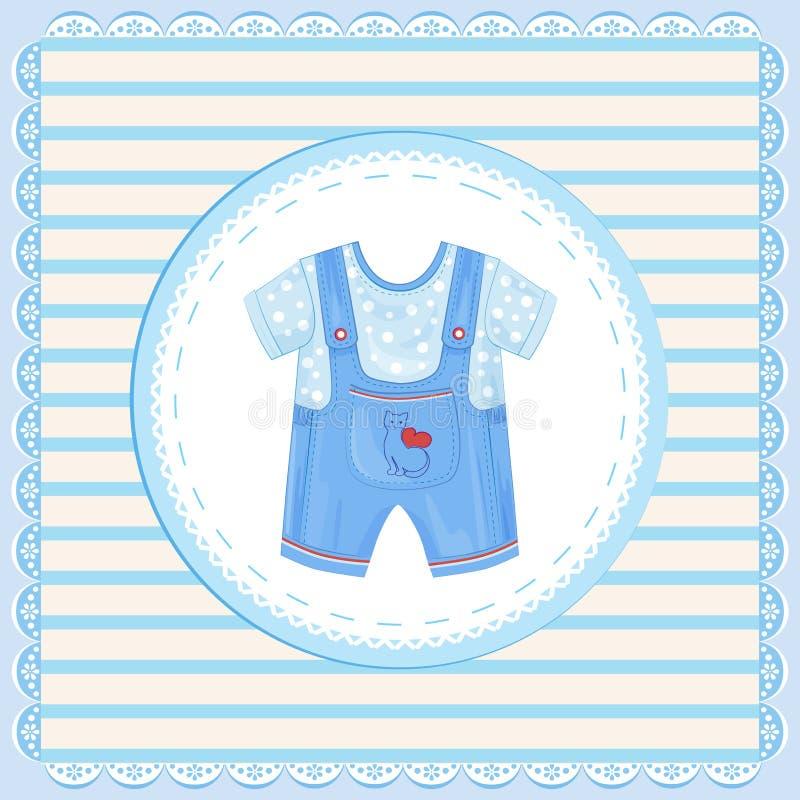 男婴的粗蓝布工装 皇族释放例证
