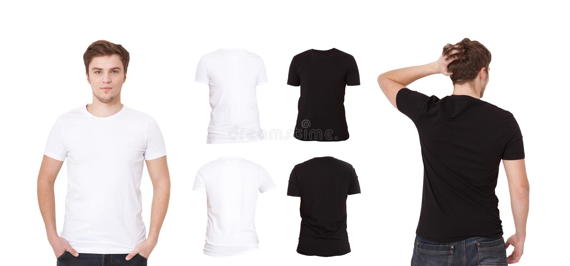 男 被设置的衬衣 黑白衬衣 被隔绝的前面和后面看法T恤杉 嘲笑,复制空间,关闭  库存图片