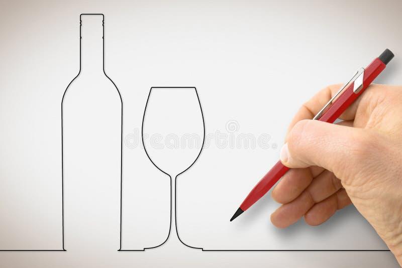 画一个瓶与葡萄酒杯的酒-与一条个别线路设计的概念图象的手 免版税库存图片