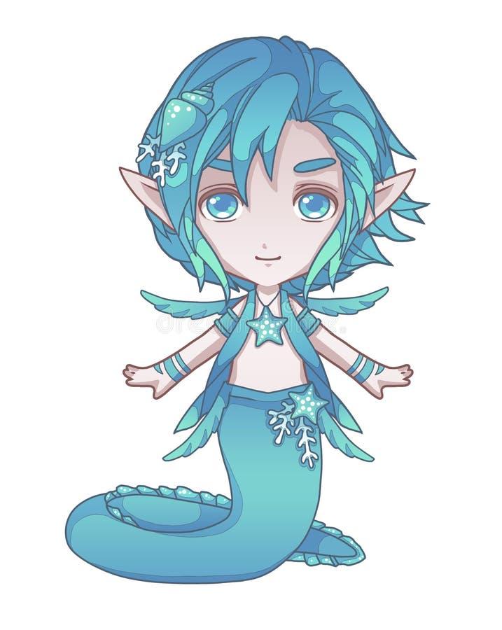 画一个逗人喜爱的动画片样式绿松石鳗鱼人鱼男孩 向量例证