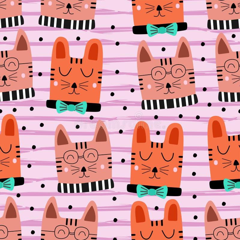 画五颜六色的背景无缝手拉的逗人喜爱的猫样式 婴孩和孩子时尚纺织品印刷品的滑稽的对象装饰 皇族释放例证