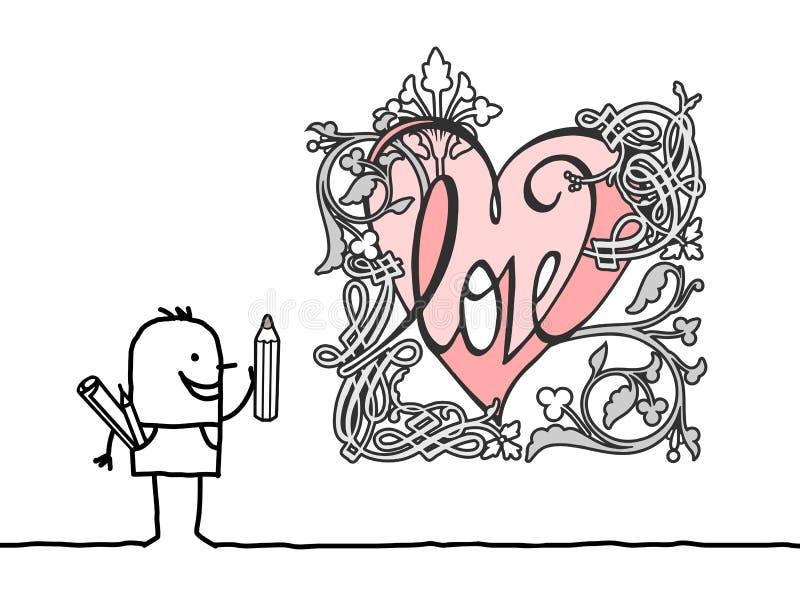 画减速火箭的样式心脏的动画片设计师 皇族释放例证