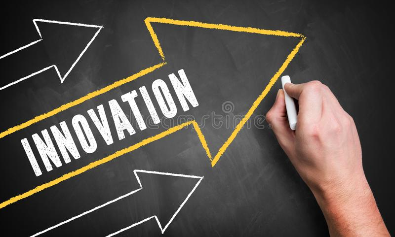画几个向上指向的箭头和词'创新的手 库存图片