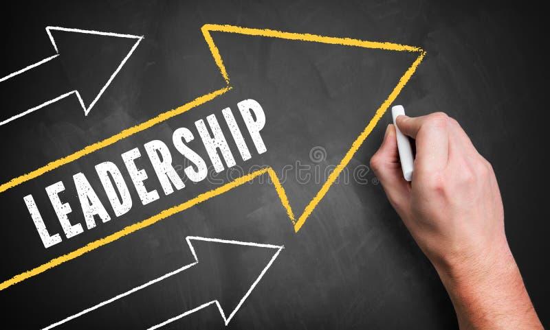 画几个向上指向的箭头和词'领导的手 库存照片