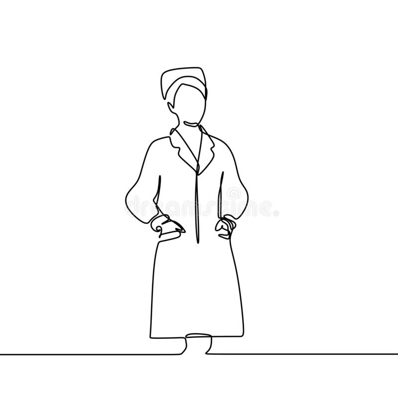 画医药一医生手拉的护士实线隔绝在白色背景最小的设计 库存例证